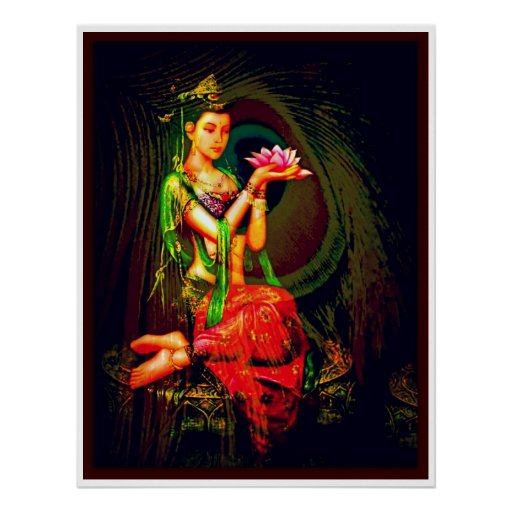 Kuan Yin y la pluma del pavo real Posters