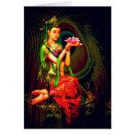 Kuan Yin y la pluma del pavo real Tarjeta De Felicitación