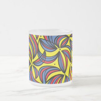 Kubiak Abstract Expression Yellow Red Blue 10 Oz Frosted Glass Coffee Mug