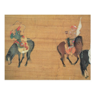 Kublai Khan (1214-94) Hunting (detail), Yuan dynas Postcard