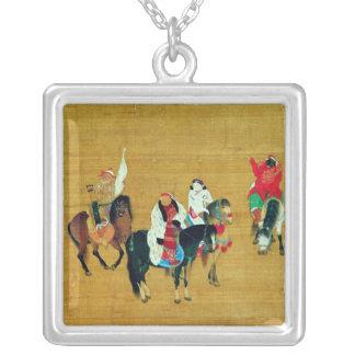 Kublai Khan  Hunting, Yuan dynasty Square Pendant Necklace