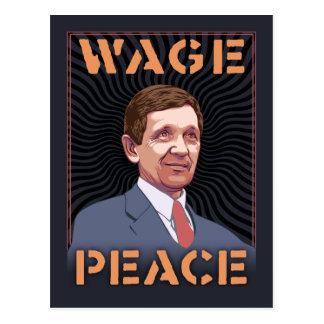 Kucinich - paz del salario tarjeta postal