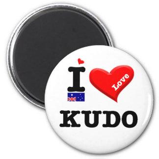 KUDO - I Love 2 Inch Round Magnet