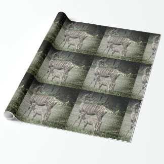 Kudu Antelope Mother with Baby, Grunge Wrapping Paper