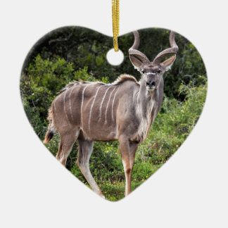 Kudu. Double-Sided Heart Ceramic Christmas Ornament
