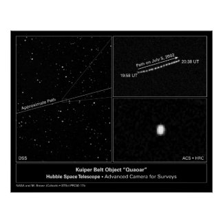 "Kuiper Belt Object ""Quaoar"" Hubble Telescope Photo Posters"