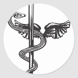Kukulcan and Rod of Aesculapius Classic Round Sticker