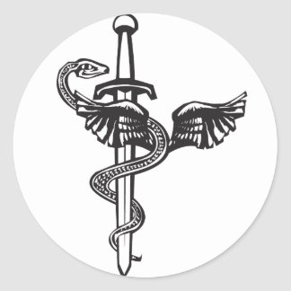Kukulcan and Sword Classic Round Sticker