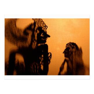 Kulit de Wayang de las marionetas de la sombra Tarjeta Postal