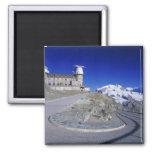 Kulm hotel and trail, Gornergrat, Zermatt, 2 Inch Square Magnet