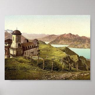 Kulm y Pilatus Rigi vintage Photoc de Suiza Posters