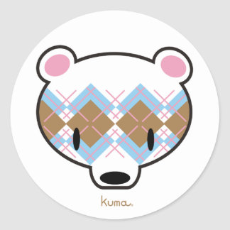 Kuma-chan in aaargyle classic round sticker