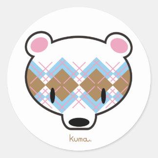 Kuma-chan in aaargyle classic round sticker