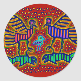 Kuna Indian Birds with Fish Classic Round Sticker