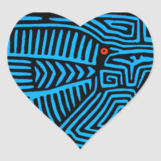 Kuna Indian Blue Bird Heart Sticker