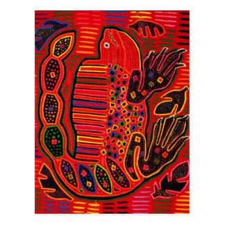 Kuna Indian Iguana Mola Postcard