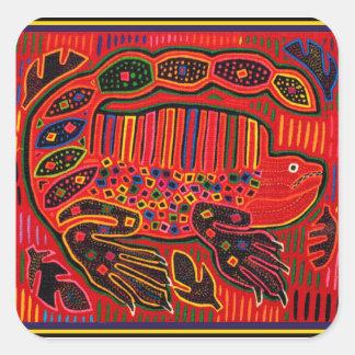 Kuna Indian Iguana Mola Square Sticker