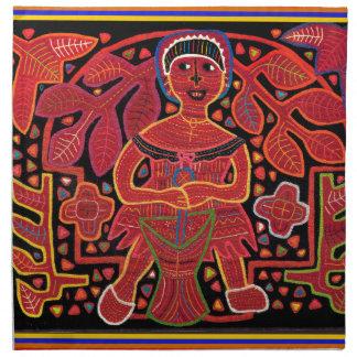 Kuna Indian in Cooking Hut - Tribal Cloth Napkin