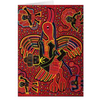 Kuna Indian Stork Bringing Baby Design Card