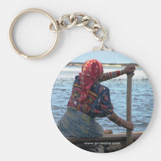 Kuna woman paddling ulu, East Lemmons, Kuna Yala Keychain