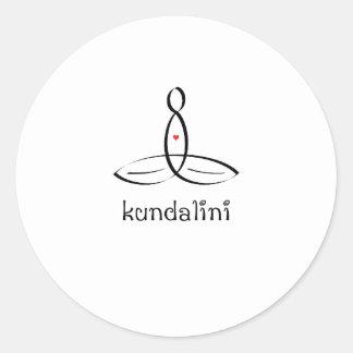 Kundalini - estilo de lujo negro pegatina redonda