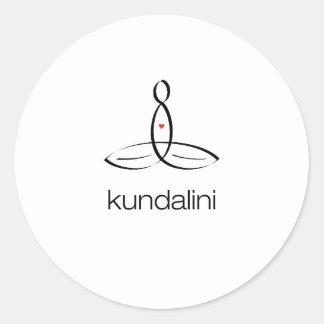 Kundalini - estilo regular negro pegatina redonda