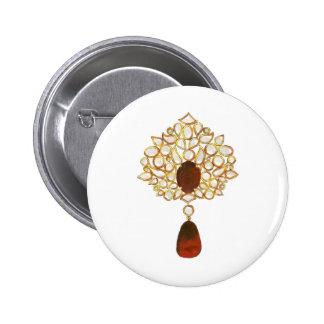 Kundan & ruby brooch pinback buttons