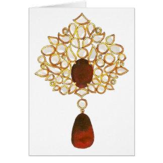 Kundan & ruby brooch greeting card
