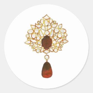 Kundan & ruby brooch classic round sticker