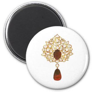 Kundan y broche de rubíes imán redondo 5 cm
