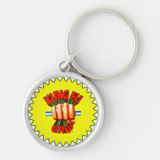 kung foo grip Silver-Colored round keychain