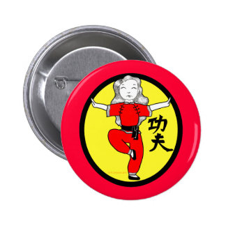 Kung Fu Crane Stance Girl Pinback Buttons