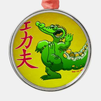 Kung Fu Crocodile Metal Ornament