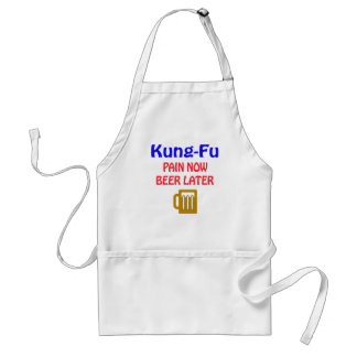Kung-fu pain now beer later adult apron