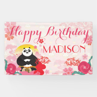 Kung Fu Panda | Pink Floral Birthday Banner