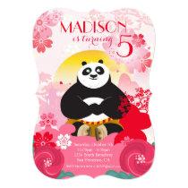 Kung Fu Panda | Pink Floral Birthday Invitation