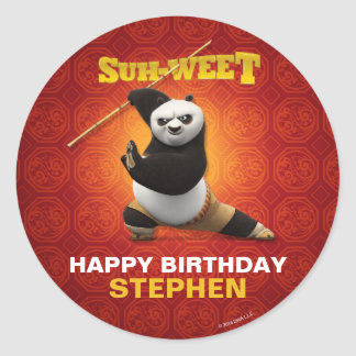 Kung Fu Panda   Po Warrior Birthday Classic Round Sticker