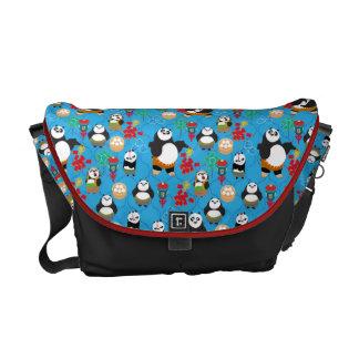 Kung Fu Pandas Blue Pattern Messenger Bag