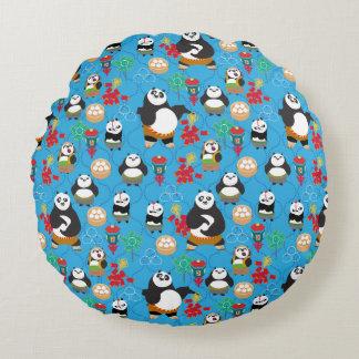 Kung Fu Pandas Blue Pattern Round Pillow
