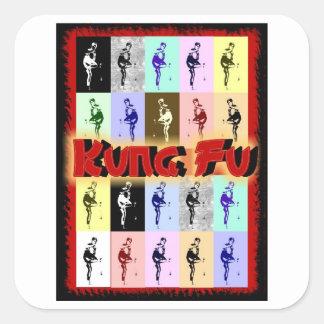Kung Fu Pegatina Cuadrada