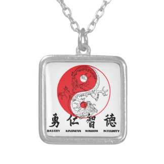 Kung Fu Square Pendant Necklace
