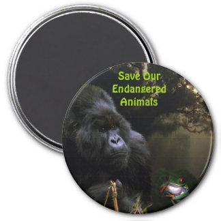 Kunga Mountain Gorilla & Frog Wildlife Art Magnet