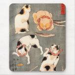 Kuniyoshi cuatro gatos tapetes de raton