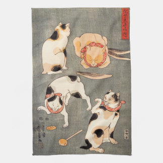 Kuniyoshi cuatro gatos toallas