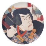 Kuniyoshi el actor platos de comidas