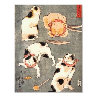 Kuniyoshi Four Cats Invitations