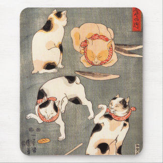 Kuniyoshi Four Cats Mouse Pad