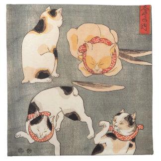 Kuniyoshi Four Cats Napkin