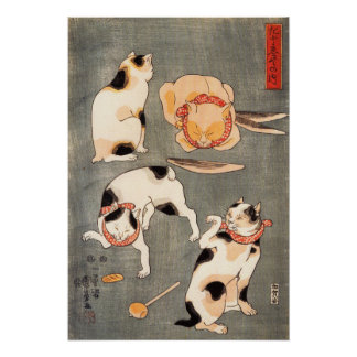 Kuniyoshi Four Cats Poster