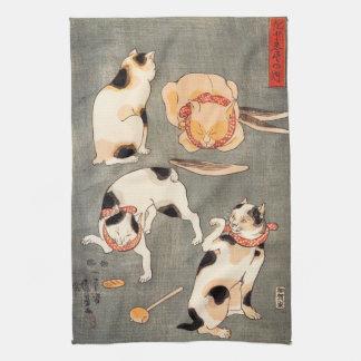 Kuniyoshi Four Cats Towel
